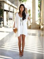 Summer new arrival 2014 fashion brief New Women V neck Loose V Neck Split Long Sleeve Strapless Casual Dress