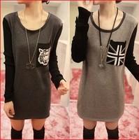 2014 New fashion Autumn and  Winter  women's fleece o-neck pocket plus velvet long-sleeve T-shirt