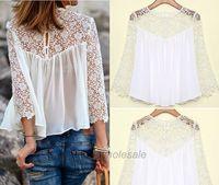 Free Shipping Women Chiffon Blouse New Fashion Summer Fall Women Casual  White Lace Shirts Top S-XL size to Pick