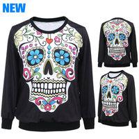 2014 Autumn Streetwear Sweatshirt Women Sport Suit Pullovers Tracksuit  Human skeleton Hoodies