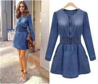 Autumn 2014 New Arrival Women Slim Long Sleeve Denim Dress Jean Dress Vintage Casual Denim Jeans Dress Vestidos Femininos 2450