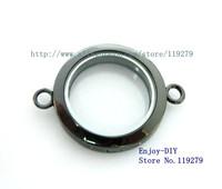Free shipping 5PCS 30mm Gun black color Plain Round Floating charms Locket Pendant For Locket Bracelet JK12-4