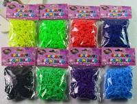 Rainbow Kit DIY Wrist Bands Rainbow Bracelet for kids (200 pcs bands + 12 pcs S-clips Braided fluorescent rubber band