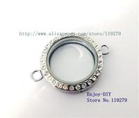 Free shipping 5PCS 30mm Chrome color Sparkle Round Floating charms Locket Pendant For Locket Bracelet JK14-1