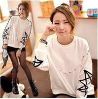 Hot Sale The Autumn Of 2014 Women Loose Sweater Hoodie  Orange Coat Thin Sweatershirt Girl w804