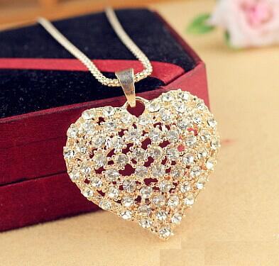 Austrian crystal heart pendant long necklace female fashion necklaces for women 2014 fine costume jewelry kolyeyi