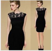 Woman's 2014 European style elegance sexy Irregular oblique shoulder lace dress YC097