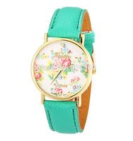 New Arrival PU Leather GENEVA Women Dress Watch Flower Watch Orange Ladies Casual Watches 2014