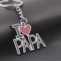10pc/lot free shipping Creative 2014 new fashion love papa keychain Christmas gift key chain fathers' day key ring novelty items
