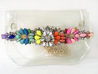 New arrival 2014 fashion mini candy neon acrylic flower transparent PVC shoulder bags women Messenger Bag  5 Color