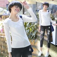 Sxe0975 2014 autumn slim lace long-sleeve basic t-shirt female