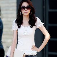 New Women Fashion Lace Patchwork Puff Sleeve Cotton T Shirts Ladylike Style Slim Bodycon Elegant Summer Tops Black White Q112