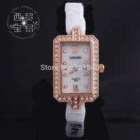 Long wave genuine fashion lady square white ceramic diamond watches waterproof watch 8899-2