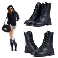 Fashion Women Girl Cool Military Army PUNK Knight Lace-up Short Boots Martin Boots Shoes Black 7936