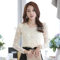 Free Shipping Beige/Black/Red S-XL Designer Women's Tops New 2014 Autumn Fashion Elegant Crochet Long Sleeve Lace Blouses Shirts
