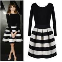 2014 new woman's black fashion stripe mosaic long sleeve dress YC101