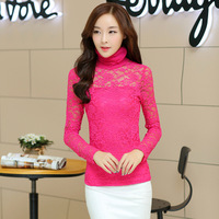2014 Autumn new Plus size Lace round neck long sleeve t-shirt Was thin bottoming shirt
