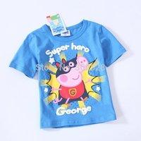 2014 Baby boys t-shirt kids clothing tees short Sleeves t-shirt for summer pepa pig clothes George pig roupa infantil menino