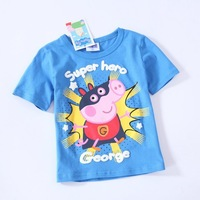 2014 Baby boys t-shirt kids clothing tees short Sleeves t-shirt for summer pepa pig clothes George pig roupa infantil menino