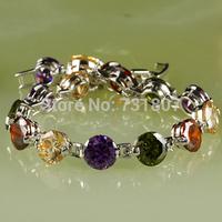 Wholesale Fancy Amethyst & Garnet & Morganite Silver Bracelet Fashion Bracelet Nice Gift Free Shipping