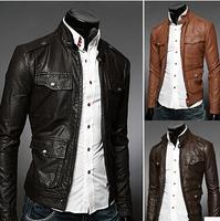 3 Color M-2XL 2014 Brand Men's Fashion Leather Jacket For Men Winter Autumn Zipper Haulage Motor Jackets Mens Casual Coats AX793