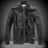 2014  Free Shipping Newest Winter Male Large Size Classic PU Leather Outwear Coat For Men Cool Motorcycle Leather Jacket