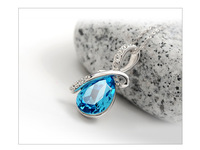 Free shipping! retail Stylish design 925 silver pendant with blue crystal for woman water drop pendant DWN-DL-P0060