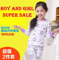 Free Shipping children pure cotton boy and girl's pajamas suit,8 style+6 size can choose,Children's autumn winter thin nightwear