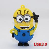 Cartoon Despicable Me Minions USB 3.0 Pen Drive Flash Disk Memory Flash 8gb 16gb 32gb 64gb free shipping