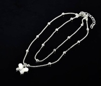 2014 New Women's Fashion Silver Clear Cubic Shell Butterfly Anklets Girls Ankle Bracelet Silver 8487 3F
