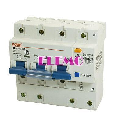 AC 400V 100 Amp 6KA 3P 3P + N miniatura disjuntor DIN Rail DZ47LE -125(China (Mainland))