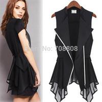Hot sale New 2014  Europe and America Women Chiffon Vest Spring models Slim Coat Maga Long section Sleeveless Waistcoat S-XL