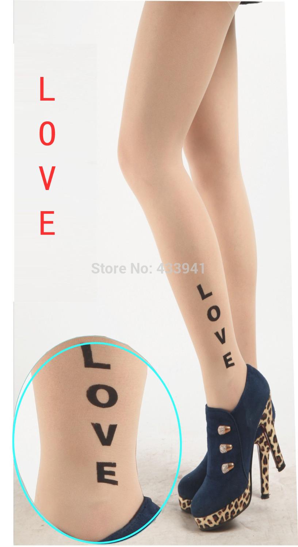 2014 Summer Fake tattoo stockings Printed stockings thin Pantyhose Tights Free Shipping LOVE pattern(China (Mainland))