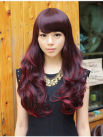 Fashion Ladies Ombre dark red wigs Synthetic long hair Big wavy wig for Beautiy