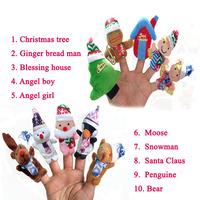 10Pcs/Lot Cartoon Christmas Style Finger Plush Puppet,Kids Favourite,Children Christmas Story Assist Dolls,Baby Educational Toys