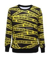 Free shipping Cool Yellow Alert Article loose Fashion Hoody Women Digital Printed Sweatshirt