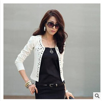 Black/White Spring 2014 Female Coats Womens Short Jackets With Rivet for Lady's Blazer Cardigan Cheap Free Shipping Q001