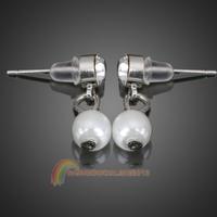 R1B1 Glittering Girl Earrings Eardrop Artificial Pearl Crystal Jewelry Silver