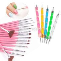 20 Pcs Nail Art Acrylic UV Gel Design Brush Set Painting Pen Tips Tools kit