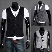2014 Brand New arrive fashion casual men's Vest ,Hot-selling vest color male vest casual slim ,chaleco men 3 colors M-XXL