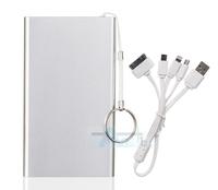 Silver  Portable  Mobile Power bank 8000mAh External battery charger