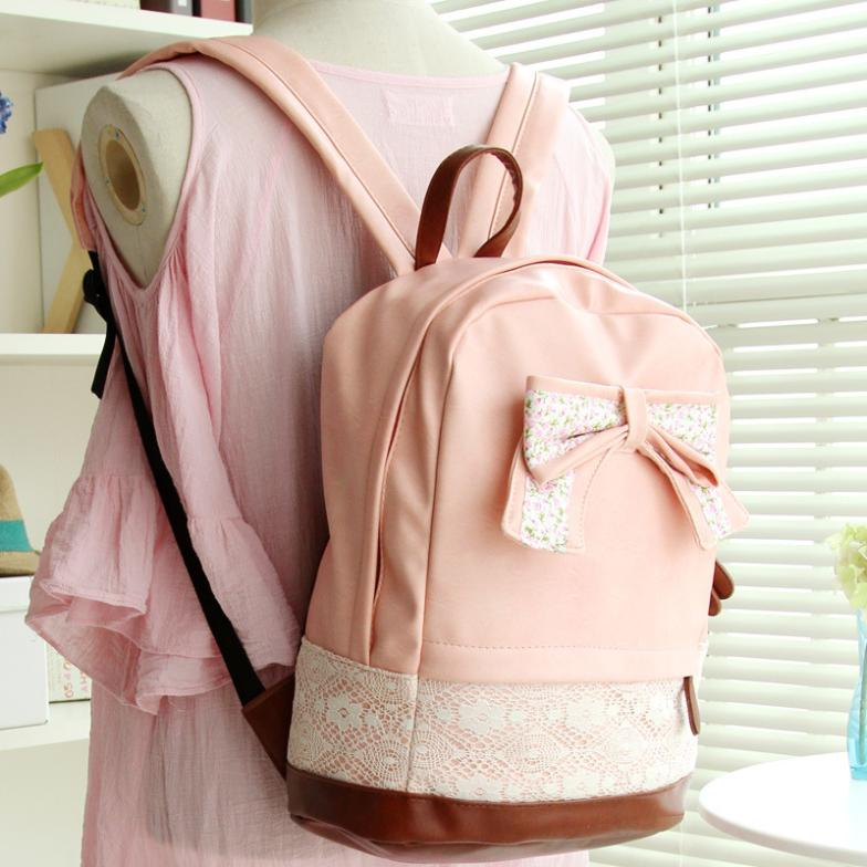 Fashion Cute Bow Belt Shoulder Bag Backpack Sweet Cute Bow