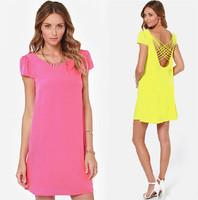 S-XL Free shipping 2014 New Fashion Solid Color Cute Dress Chiffon Open Back Hollow Cross Puff Short Sleeve Dress yellow LQ8327