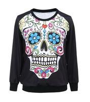 Free shipping New Arrival Bone Loose Fashion Hoody Digital Printed Sweatshirt For Women