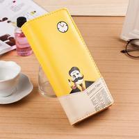 2014 new Korean fashion hit color three fold old man beard long hasp women wallets 7 colors free shipping
