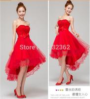 Free Shipping Paragraph Length Bridesmaid Wedding Toast Clothing 2014 New Korean Bra Wedding Dress Red Wedding Dress