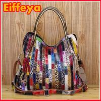 K445 2014 New Genuine Patent Leather Womens Fashion Handbags Colorful Shining Satchel Snake Print Patchwork Shoulder Bag Tote