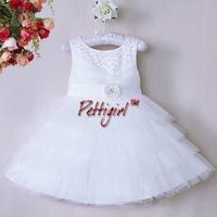 Latest Design Christmas Girl Dresses White Polyester Dresses With Flower Girls Wedding Dresses Ready Stock GD40814-48