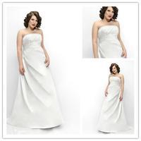 white crystal strapless sleeveless stain bride gown plus size vestido de noiva floor-length plus size Wedding dress 2014 NK-876