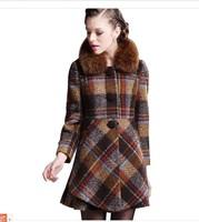 2014 autumn and winter fox fur woolen outerwear woolen overcoat medium-long plaid cashmere overcoat